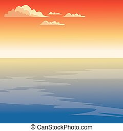Beautiful seascape cartoon