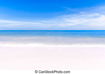 Beautiful seascape, clean turquoise sea, white sandy...