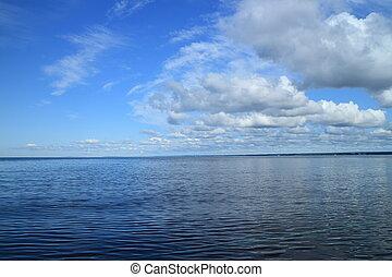 beautiful seascape clouds in blue sky