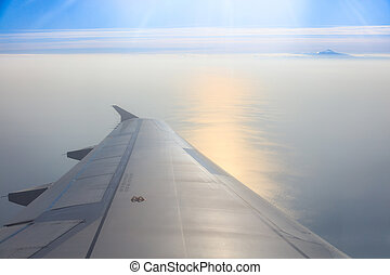 Beautiful seascape from an airplane window