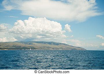 Beautiful seascape, Hvar and Split Channel. Traveling,...