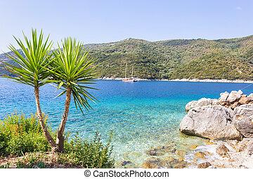 Mikros Gialos beach in Poros village, Lefkada island, Greece