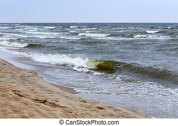 Beautiful seascape on the Baltic Sea coast in spring.
