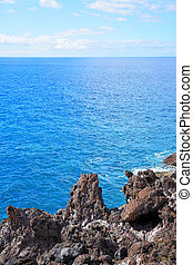 Beautiful seascape rock and sea horizon