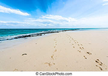 beautiful seascape with footprints on a shore