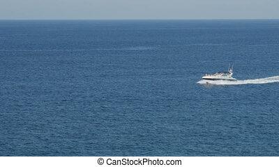 Beautiful seascape with sea horizon and sail boat.