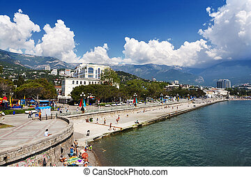 Embankment in Yalta, Crimea - Beautiful seaside city. ...
