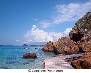 Beautiful seaside - Boardwalk in Ko Kham island, Sattahip,...