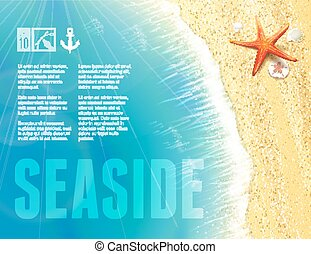Beautiful Seaside View with Starfish. Vector illustration, ...