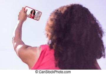 Selective focus of a modern smartphone screen