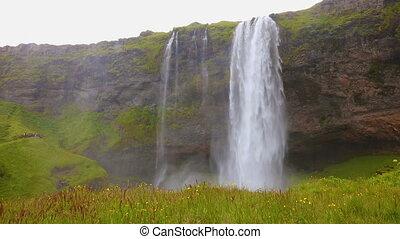 Beautiful seljalandsfoss waterfall in Iceland in the summer...