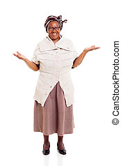 senior african woman with open arms