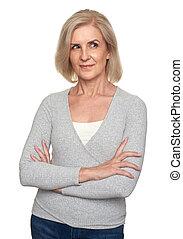 beautiful senior blonde woman isolated