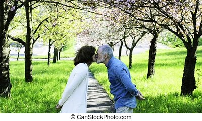 Beautiful senior couple in love outside in spring nature...