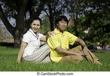 Beautiful senior couple in park