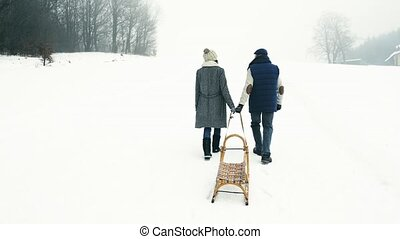 Beautiful senior couple on a walk pulling sledge, winter day...