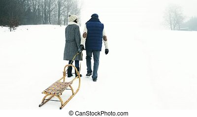 Beautiful senior couple on a walk pulling sledge, winter day.