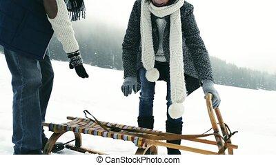 Beautiful senior couple on sledge, winter day. - Beautiful...