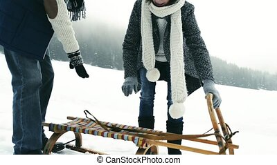 Beautiful senior couple on sledge, winter day.