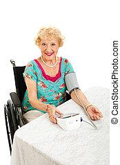 Beautiful Senior Takes Own Blood Pressure