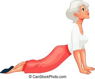 beautiful senior woman in various poses of yoga, cartoon...
