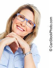 Beautiful senior woman wearing eyeglasses.