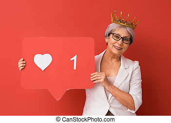 woman with like icon