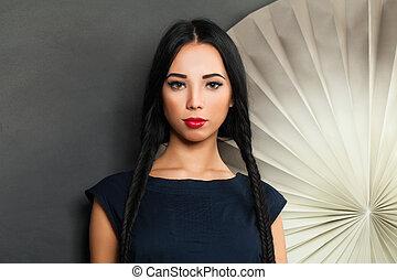 Beautiful sensual brunette woman