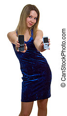 girl with two cellular