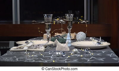 Beautiful served festive Christmas table in a restaurant....
