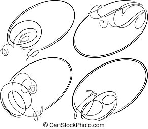 Beautiful set of 4 decorative oval vector frames.