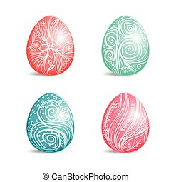 Beautiful set of colored Easter eggs with ornament