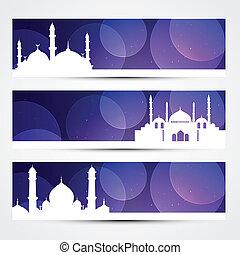 beautiful set of ramadan and eid banners