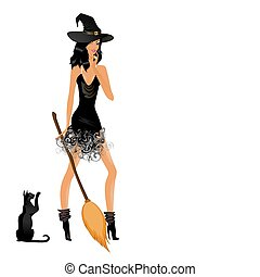 beautiful sexual witch for a design on halloween