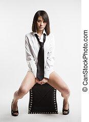 Beautiful sexy asian girl - A fashion shot of a beautiful...