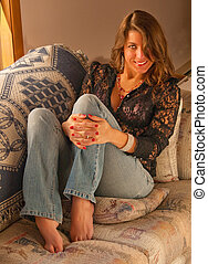 Beautiful Sexy Barefoot Girl in Jeans