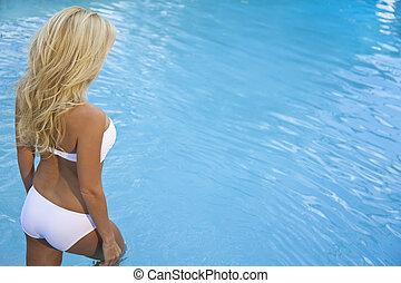 Beautiful Sexy Blond Woman In Bikini Walking Into Blue Pool