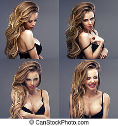 Beautiful sexy blonde woman standing, wearing black sensual lingerie, looking away.