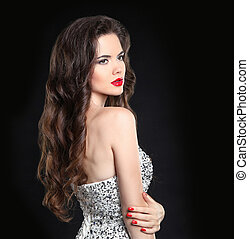 Beautiful sexy brunette with red lips, long healthy curly...
