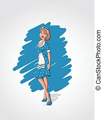 cartoon house wife wearing apron