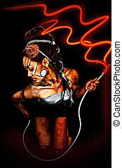 Beautiful Sexy Cyborg Woman with Electrical Cord - Beautiful...