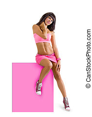 beautiful sexy glamorous young girl sporting a slender woman in fashionable clothes with advertising empty banner on a white background