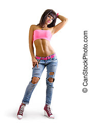 beautiful sexy glamorous young girl sporting a slender woman in fashionable jeans on a white background
