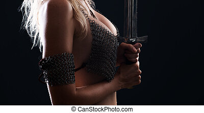 sexy warrior viking girl with a sword