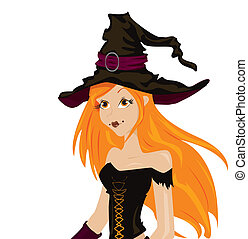 Beautiful sexy witch with long red hair and hat