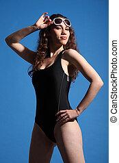 Beautiful sexy woman in swimsuit sun tanning - Beautiful...