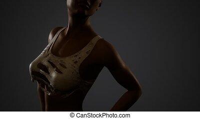 beautiful sexy woman in torn T-shirt