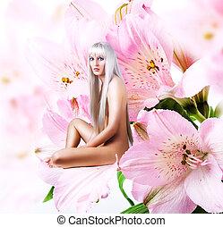 Beautiful sexy woman pixie on flower - Beautiful sexy woman...