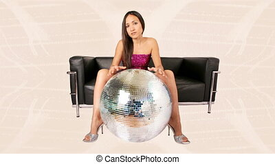 beautiful sexy woman with a discoball. Cool...