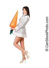 sexy young brunette with a carrot